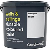 GoodHome Durable North pole Matt Emulsion paint, 5L