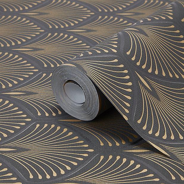 Goodhome Echium Black Art Deco Gold Effect Textured Wallpaper Diy At B Q