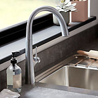 GoodHome Edulis Silver Stainless steel effect Kitchen Side lever Tap