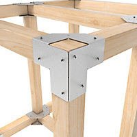 GoodHome Elvet Steel 3-way timber connector , Pack of 4