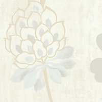 GoodHome Erosa Cream Floral Glitter effect Textured Wallpaper