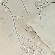 GoodHome Erosa Cream & grey Floral Glitter effect Textured Wallpaper