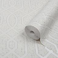 GoodHome Euclea Art deco Silver effect Textured Wallpaper