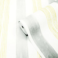 GoodHome Eulophia Grey & yellow Striped Textured Wallpaper