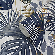 GoodHome Ferula Blue Tropical leaves Textured Wallpaper
