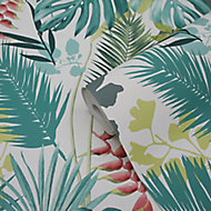 GoodHome Ferula Green Tropical leaves Textured Wallpaper