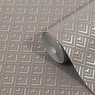 GoodHome Ficus Grey Art deco Gold effect Textured Wallpaper