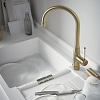 GoodHome Filbert Gold Brass effect Kitchen Side lever Tap