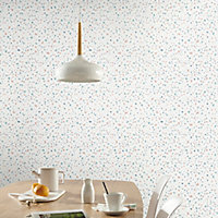 GoodHome Fusca White Terrazzo effect Textured Wallpaper