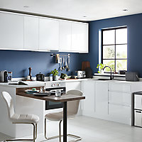GoodHome Garcinia Gloss white integrated handle Highline Cabinet door (W)600mm (T)19mm