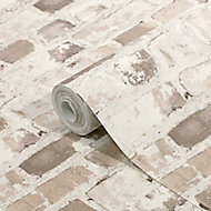 GoodHome Givry Beige Brick Stone effect Textured Wallpaper