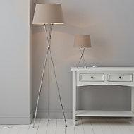 GoodHome Gooban Chrome effect Floor & table lamp