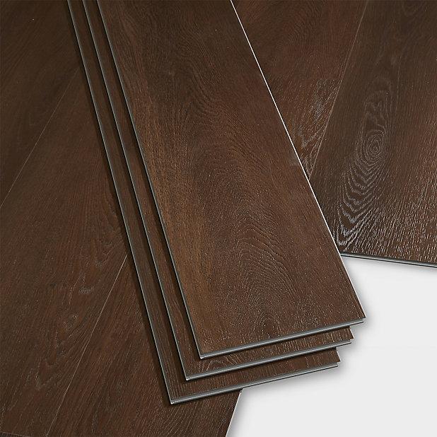 Goodhome Gospel Dark Wood Effect Luxury, Laminate Flooring Dark Brown