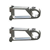 GoodHome Ikaria Grey Brushed nickel effect Metal Sliding window Curtain pole bracket (Dia)20mm, Pack of 2