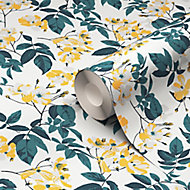 GoodHome Ikok Teal & yellow Floral Pearl effect Smooth Wallpaper