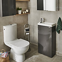 GoodHome Imandra Gloss Anthracite Freestanding Bathroom Vanity Cabinet (W)436mm (H)790mm