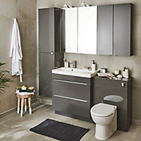 GoodHome Imandra Gloss Anthracite Wall-mounted Bathroom Cabinet (W)600mm (H)600mm