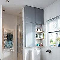 GoodHome Imandra Gloss Grey Wall Cabinet (W)800mm (H)600mm
