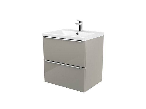 Goodhome Imandra Gloss Taupe Vanity Basin Cabinet W 600mm H 600mm Diy At B Q