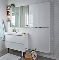 GoodHome Imandra Gloss White Wall-mounted Vanity & basin Cabinet (W)1000mm (H)600mm