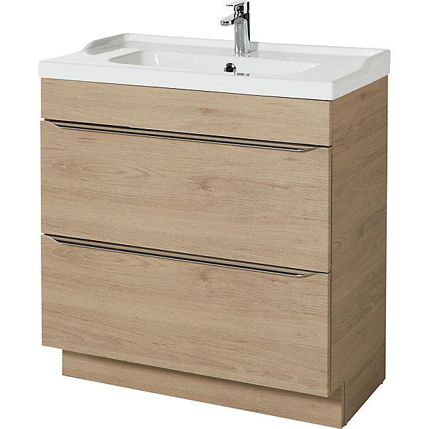 Goodhome Imandra Oak Effect Freestanding Vanity Unit Basin Set W 804mm Diy At B Q