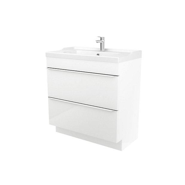 Goodhome Imandra White Freestanding Vanity Unit Basin Set W 804mm Diy At B Q