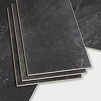 GoodHome Jazy Charcoal Tile effect Luxury vinyl click flooring, 2.23m² Pack