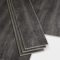 GoodHome Jazy Dark grey Wood effect Luxury vinyl click flooring, 2.24m² Pack