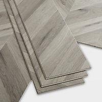 GoodHome Jazy Grey Parquet effect Luxury vinyl click flooring, 2.24m² Pack
