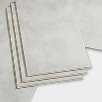 GoodHome Jazy Light grey Tile effect Luxury vinyl click flooring, 2.23m² Pack
