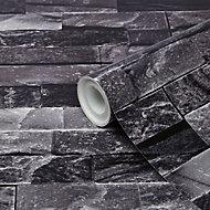 GoodHome Jori Black Brick Brick effect Textured Wallpaper
