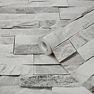 GoodHome Jori Grey & white Brick Textured Wallpaper