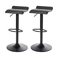GoodHome Karonda Black Adjustable Swivel Bar stool, Pack of 2