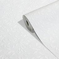 GoodHome Kerria White Leaves Textured Wallpaper