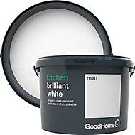 GoodHome Kitchen Brilliant white Matt Emulsion paint 2.5L