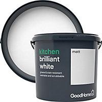 GoodHome Kitchen Brilliant white Matt Emulsion paint, 5L