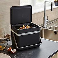 GoodHome Kora Anthracite Metal & plastic Freestanding Kitchen Bin, 7L