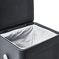 GoodHome Kora Anthracite Metal & plastic Rectangular Freestanding Kitchen Bin, 7L