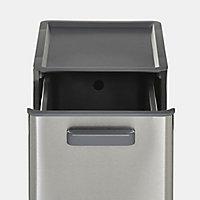 GoodHome Kora Anthracite Metal & plastic Rectangular Integrated Kitchen Pull-out bin, 13L