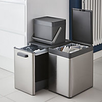 GoodHome Kora Anthracite Rectangular Integrated Kitchen Pull-out bin, 13L