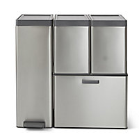 GoodHome Kora Anthracite Rectangular Integrated Kitchen Pull-out bin, 30L