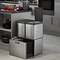 GoodHome Kora Brushed Anthracite Metal & plastic Freestanding Kitchen Bin, 15L