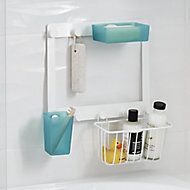GoodHome Koros Wall-mounted White Powder-coated Towel hook (W)324mm