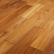 GoodHome Krabi Natural Teak Solid wood flooring, 1.29m² Pack