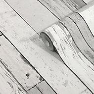 GoodHome Laas Grey Wood effect Textured Wallpaper