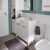 GoodHome Ladoga White Freestanding Vanity & basin Cabinet (W)600mm (H)810mm