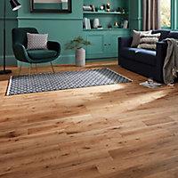 GoodHome Laholm Natural Oak Solid wood flooring, 1.48m² Pack
