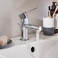 GoodHome Lazu 1 lever Chrome-plated Contemporary Basin Mono mixer Tap