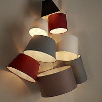 GoodHome Lokombi Light grey Fabric dyed Light shade (D)300mm