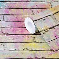 GoodHome Lokta Multicolour Brick effect Textured Wallpaper